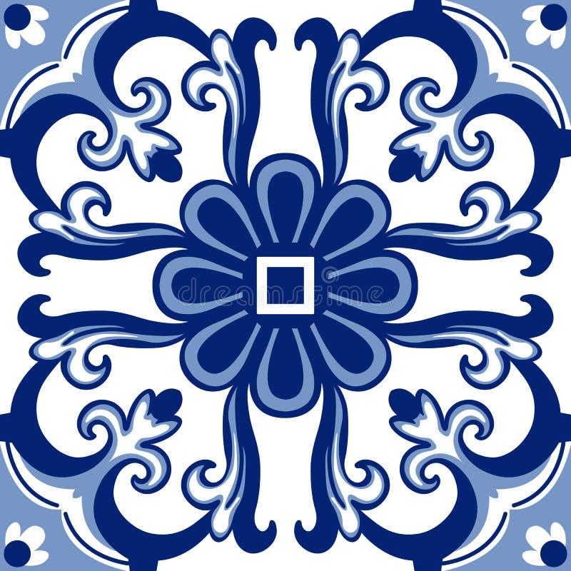 Telhas florais velhas ilustração do vetor
