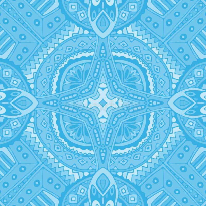 Telhas geométricas sem emenda azuis da garatuja ilustração stock