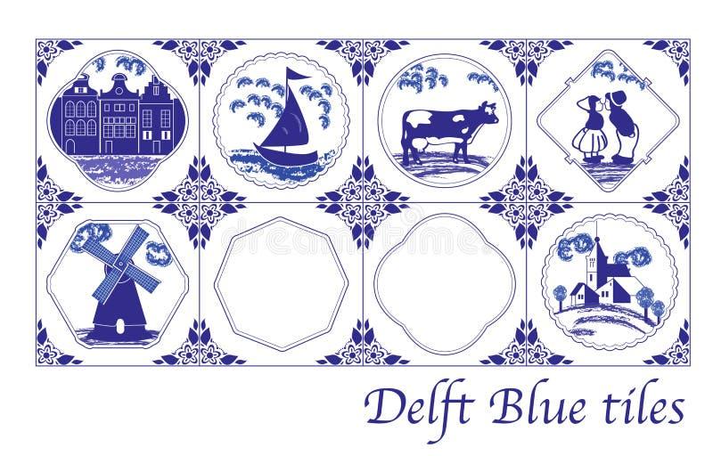Telhas holandesas azuis da louça de Delft com imagens populares ilustração stock