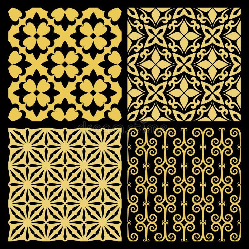 Telhas tradicionais espanholas douradas da cozinha ilustração do vetor