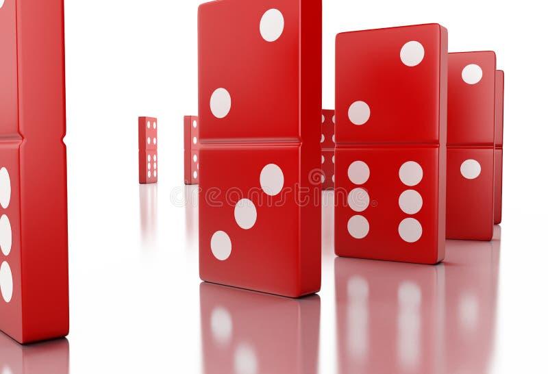 telhas vermelhas do dominó 3d em seguido ilustração do vetor