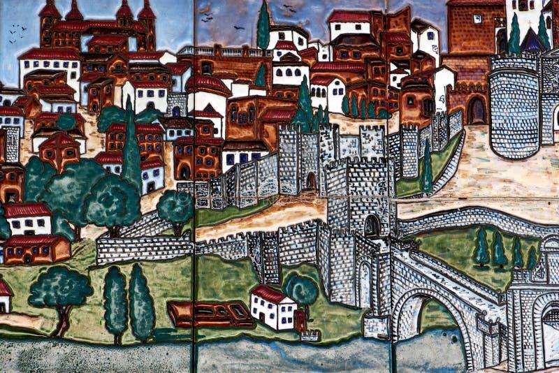 Telhas vitrificadas coloridas, a cidade de toledo, spain fotos de stock