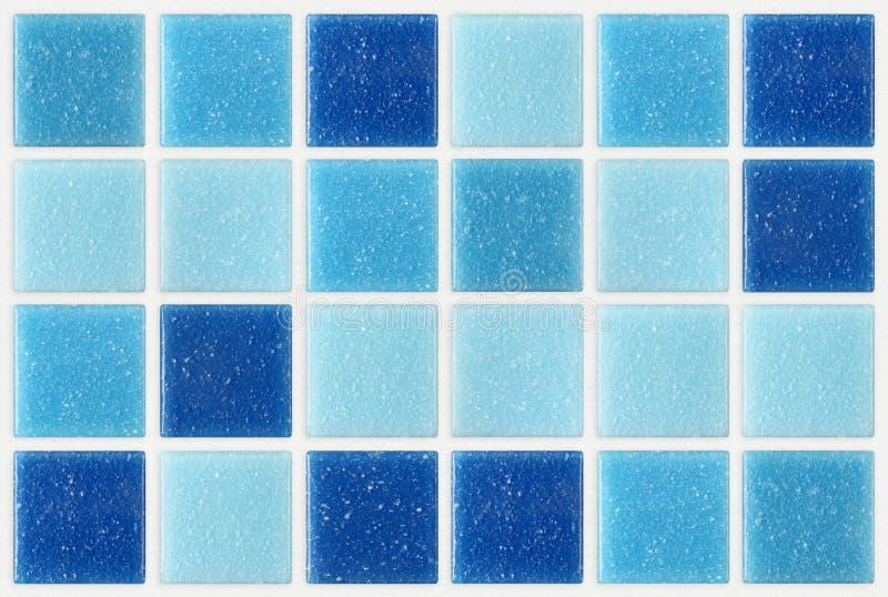 Telhe o fundo azul quadrado da textura do mosaico decorado com glitte foto de stock royalty free