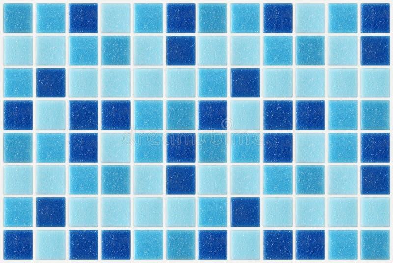 Telhe o fundo azul quadrado da textura do mosaico decorado com glitte fotos de stock royalty free