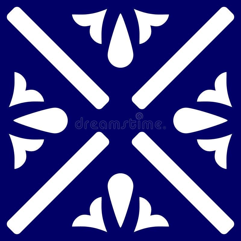 Telhe o fundo decorativo do azul de índigo e o branco de assoalho das telhas do vetor do teste padrão ou o sem emenda ilustração do vetor