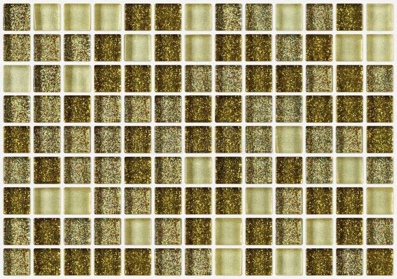Telhe o quadrado do mosaico decorado com fundo dourado da textura do brilho fotos de stock