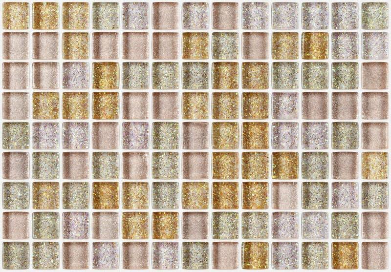 Telhe o quadrado do mosaico decorado com fundo dourado da textura do brilho imagem de stock