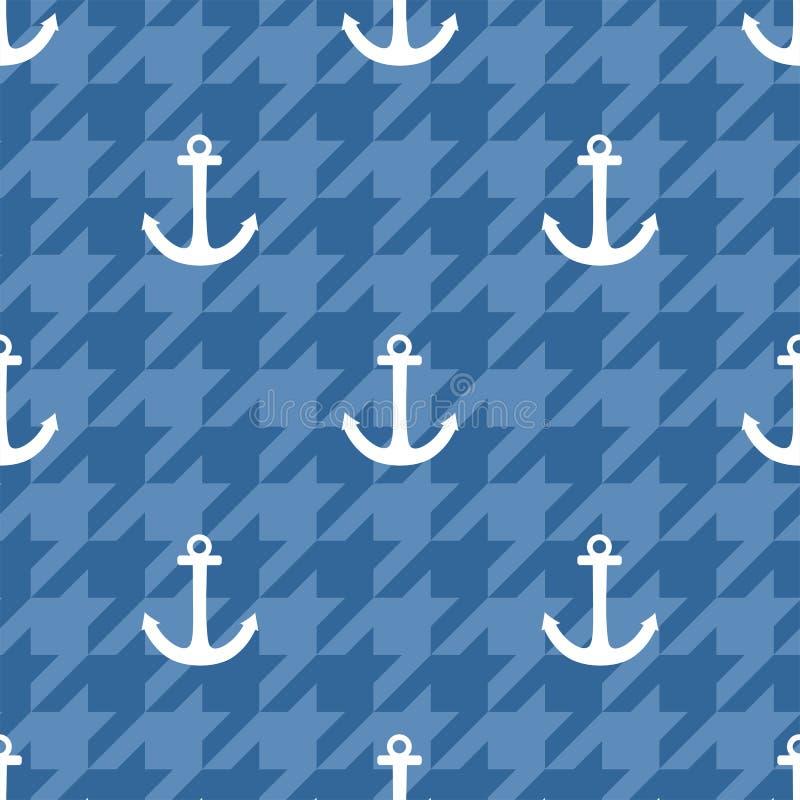 Telhe o teste padrão do vetor do marinheiro com a âncora branca no fundo azul do houndstooth ilustração royalty free