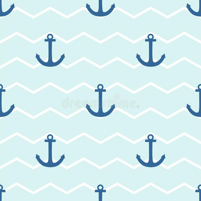 Telhe o teste padrão do vetor do marinheiro com a âncora no fundo das listras brancas e azuis ilustração royalty free