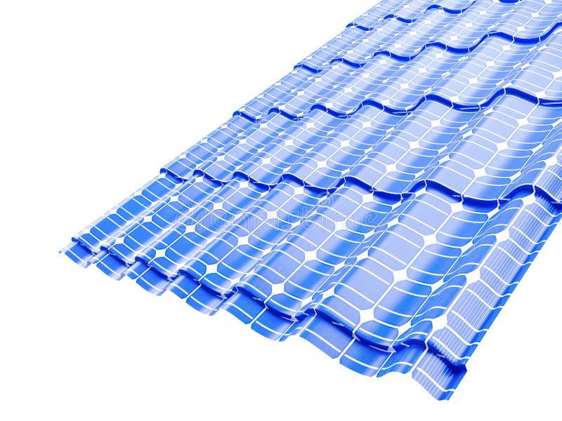 Telhe os painéis solares em uma ilustração branca do fundo 3D ilustração royalty free
