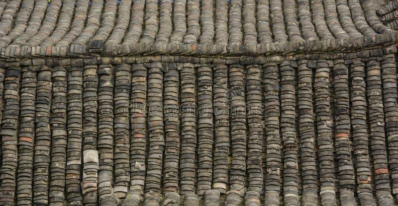 Telhe a parte superior da casa velha em Hunan, China imagem de stock royalty free
