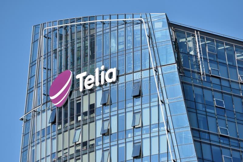 Telia λογότυπο σε ένα κτήριο στοκ φωτογραφίες
