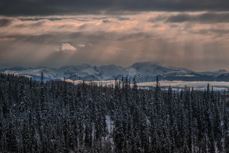 Telkwa山冬天太阳光芒 库存图片