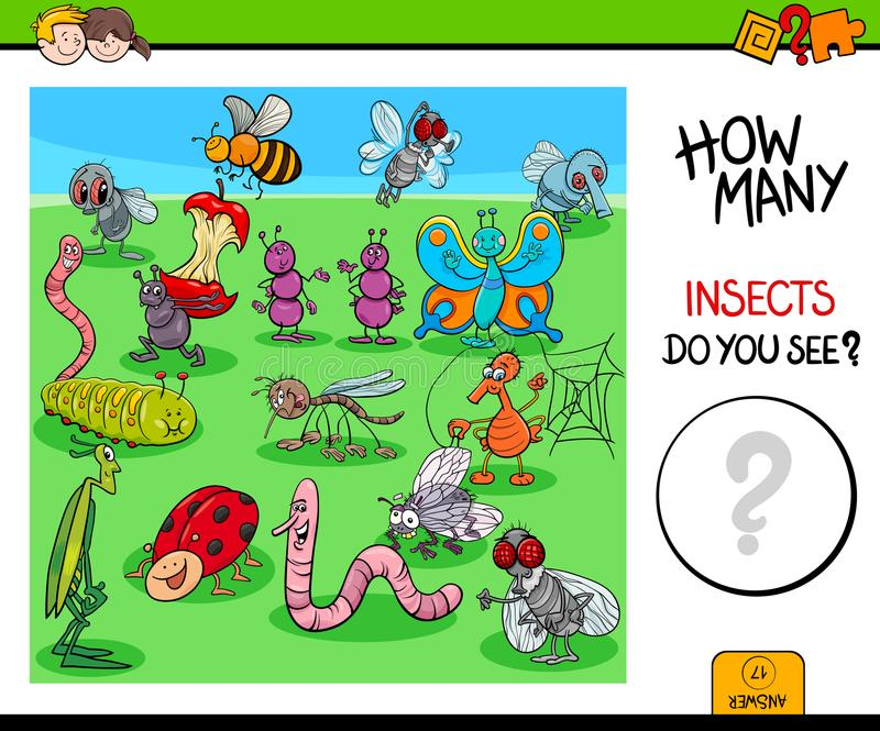Tellend insecten en insecten onderwijsspel stock illustratie