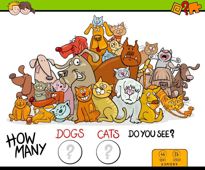 Tellend katten en hondenactiviteitenspel royalty-vrije illustratie