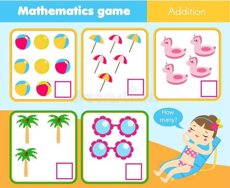 Tellend onderwijskinderenspel, het aantekenvel van de jonge geitjesactiviteit Hoeveel voorwerpen Het leren wiskunde stock illustratie