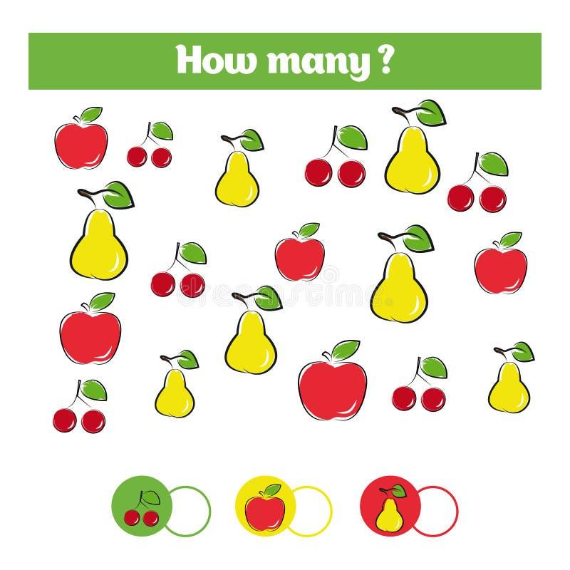 Tellend onderwijskinderenspel, het blad van de jonge geitjesactiviteit Hoeveel objecten taak Het leren wiskunde, aantallen, toevo vector illustratie