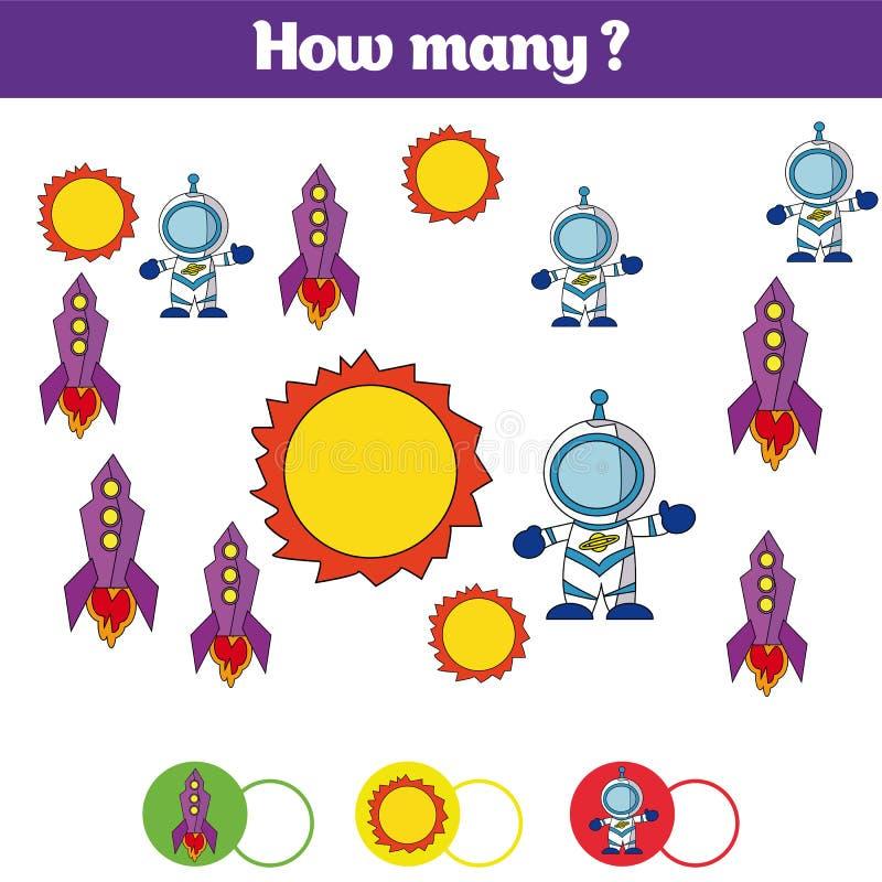 Tellend onderwijskinderenspel, het blad van de jonge geitjesactiviteit Hoeveel objecten taak Het leren wiskunde, aantallen, toevo royalty-vrije illustratie