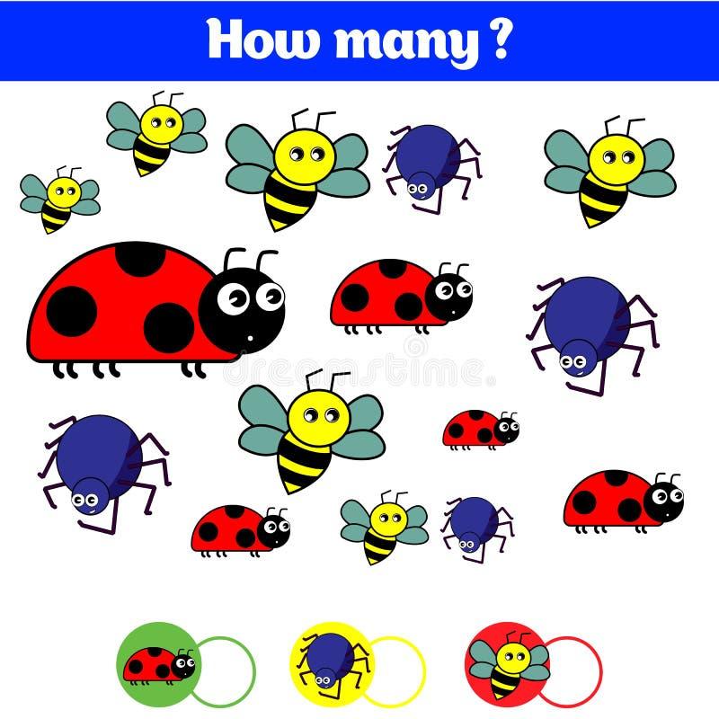Tellend onderwijskinderenspel, het blad van de jonge geitjesactiviteit Hoeveel objecten taak Het leren wiskunde, aantallen royalty-vrije illustratie