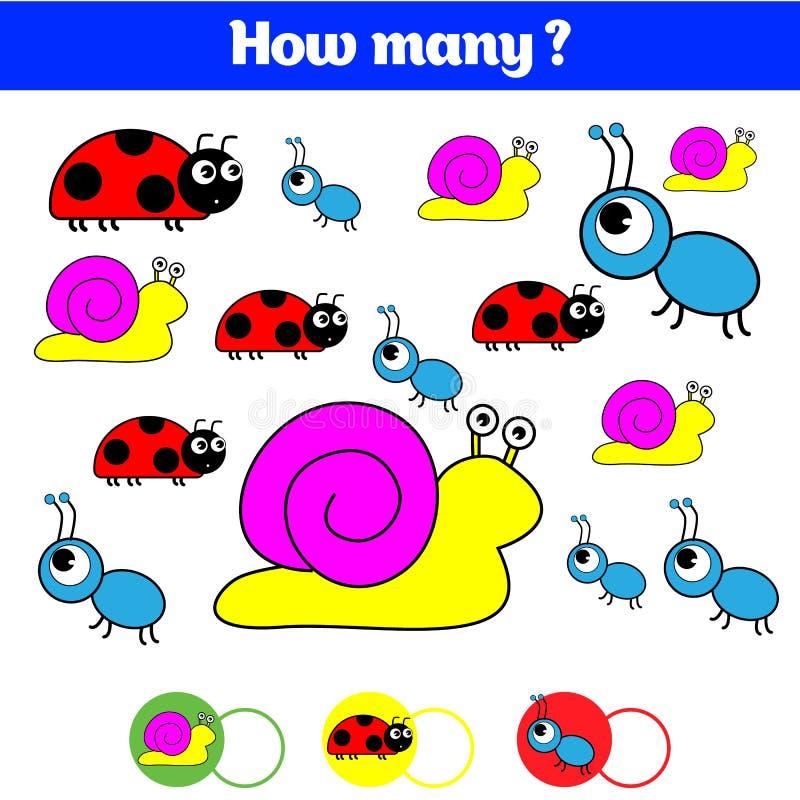 Tellend onderwijskinderenspel, het blad van de jonge geitjesactiviteit Hoeveel objecten taak Het leren wiskunde, aantallen vector illustratie