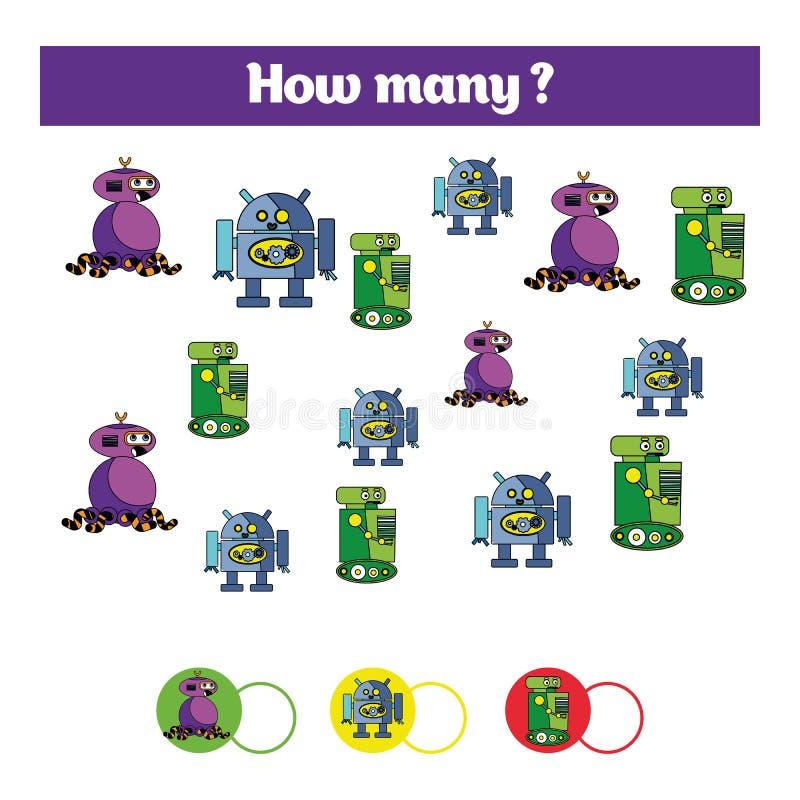 Tellend onderwijskinderenspel, het blad van de jonge geitjesactiviteit Hoeveel objecten taak Het leren wiskunde, aantallen, robo  vector illustratie