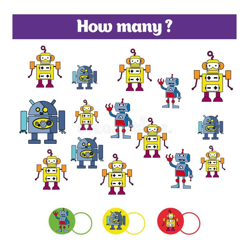 Tellend onderwijskinderenspel, het blad van de jonge geitjesactiviteit Hoeveel objecten taak Het leren wiskunde, aantallen, robo  stock illustratie