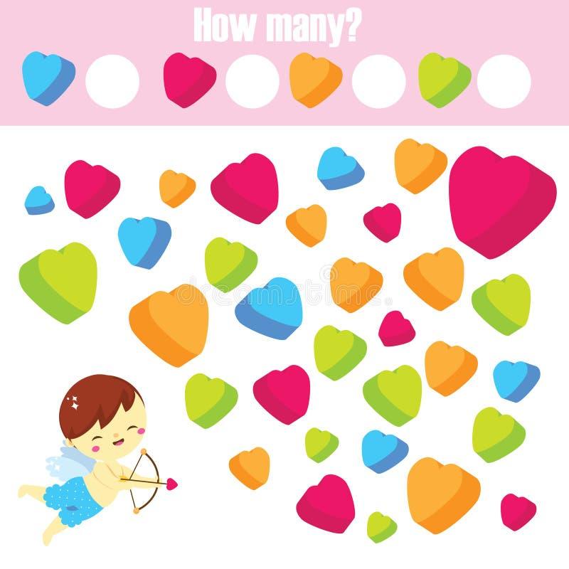 Tellend onderwijskinderenspel Hoeveel objecten taak St het themaactiviteit van de Valentijnskaartendag voor peuters en jonge geit royalty-vrije illustratie