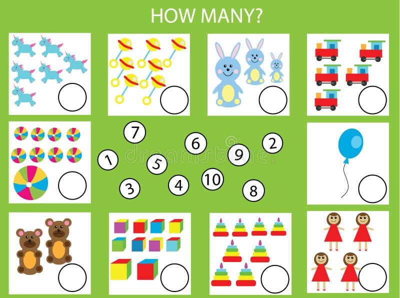 Tellend onderwijskinderenspel, jonge geitjesactiviteit Hoeveel objecten taak stock illustratie