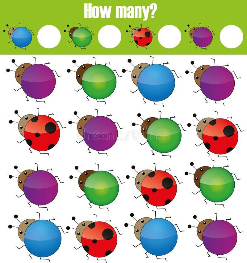 Tellend onderwijskinderenspel, jonge geitjesactiviteit Hoeveel objecten taak royalty-vrije illustratie