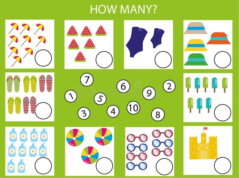 Tellend onderwijskinderenspel, jonge geitjesactiviteit Hoeveel objecten taak Zomerthema vector illustratie