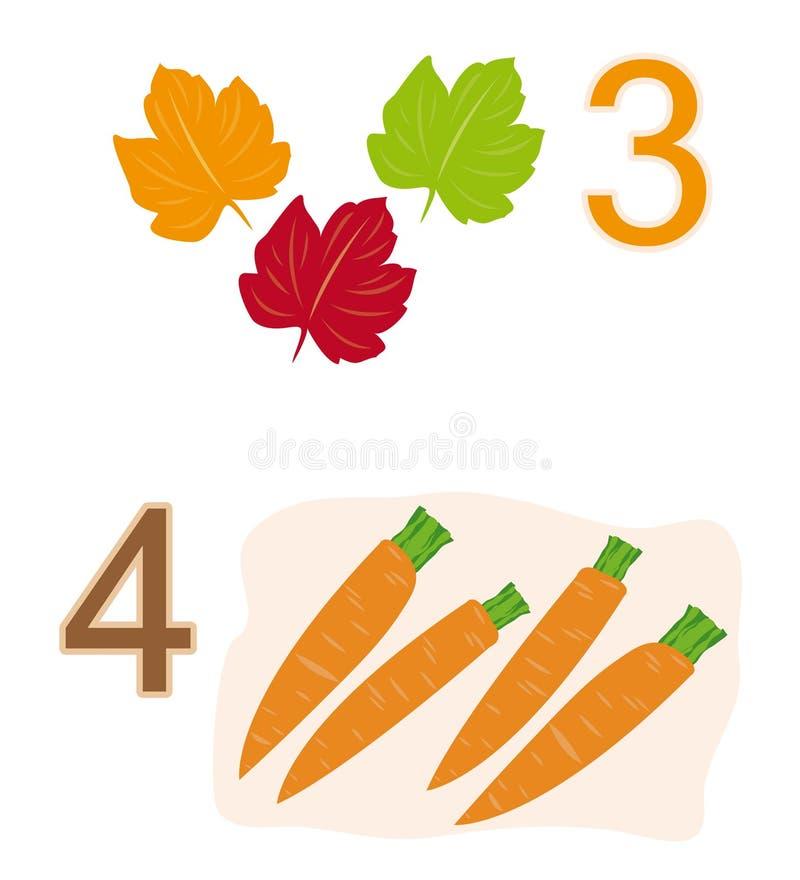 Tellend spel: nummer 3 & 4 stock illustratie