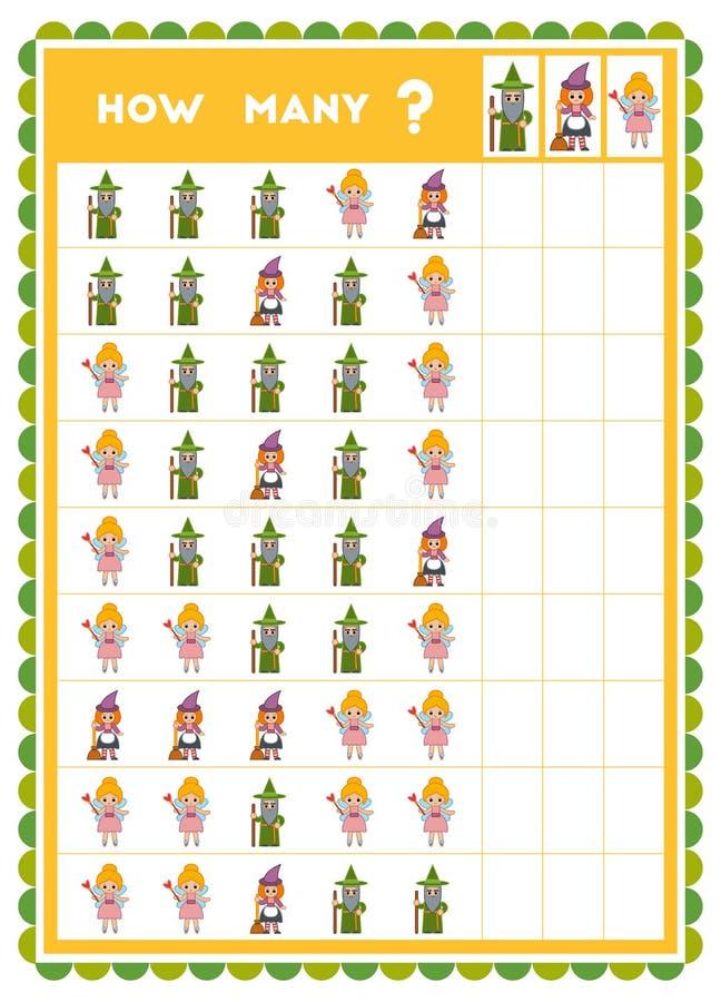 Tellend spel, onderwijsspel voor kinderen Tel hoeveel beeldverhaalkarakters in elke rij royalty-vrije illustratie