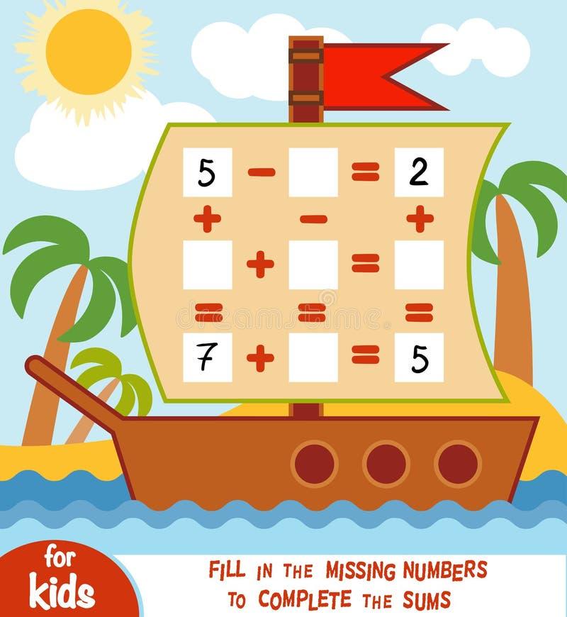 Tellend Spel voor Kinderen Onderwijs een wiskundig spel stock illustratie