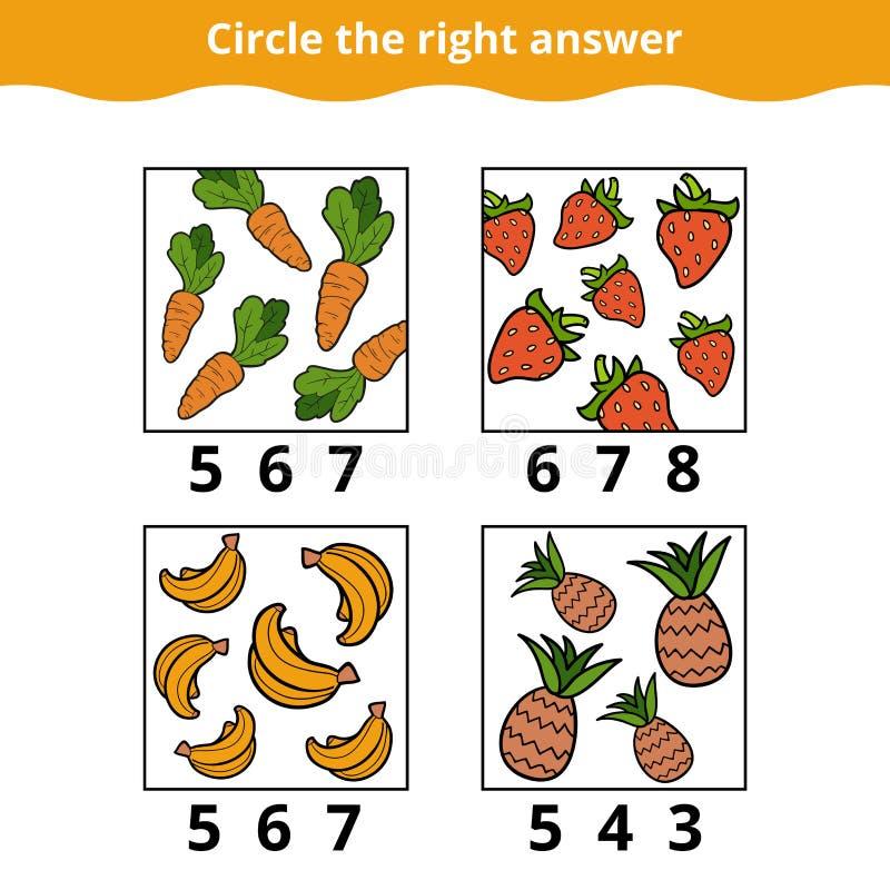 Tellend Spel voor Kinderen over vruchten en groenten stock illustratie