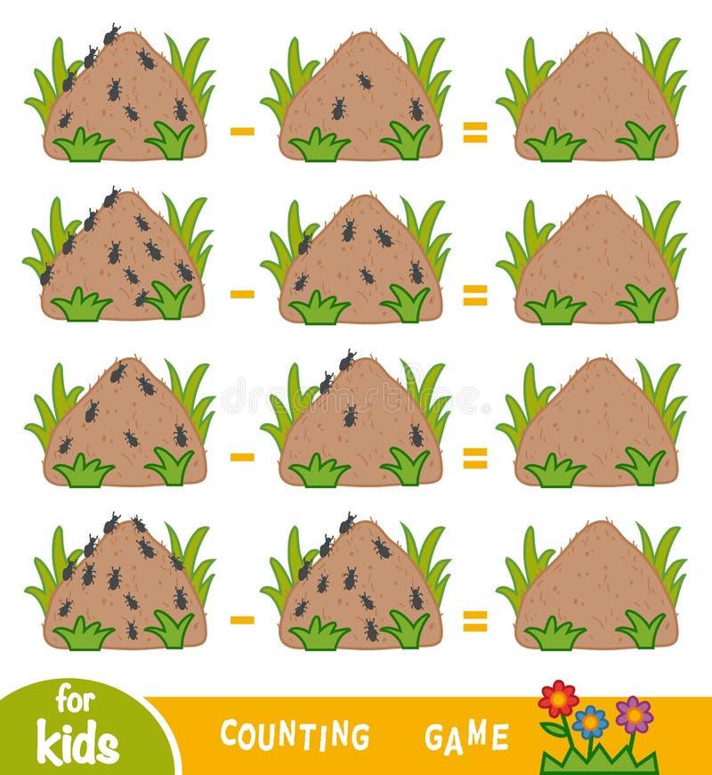 Tellend Spel voor Kinderen Tel het aantal mieren op mierenhopen vector illustratie