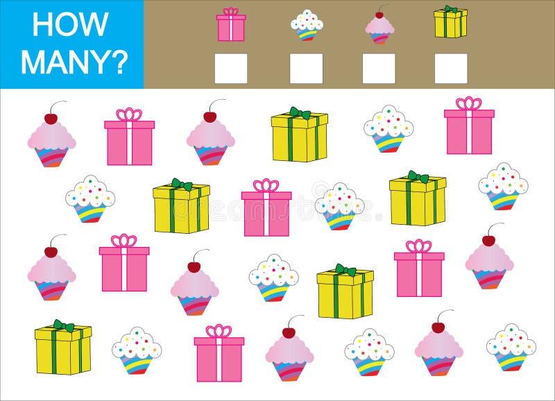 Tellend Spel voor Kinderen Tel hoeveel cupcake met gift en vector illustratie
