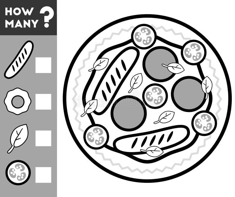 Tellend Spel voor Kinderen Tel hoeveel ingrediënten vector illustratie