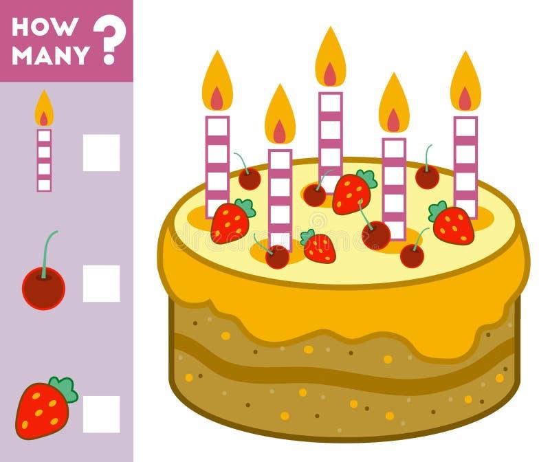 Tellend Spel voor Kinderen Telling hoeveel ingrediënten koeken royalty-vrije illustratie