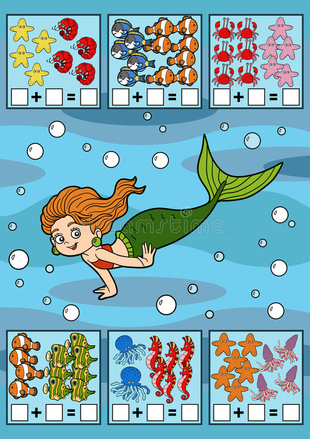 Tellend Spel voor Kinderen Toevoegingsaantekenvellen vector illustratie