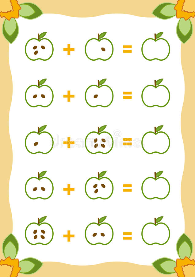 Tellend Spel voor Kinderen Toevoegingsaantekenvellen met appelen vector illustratie