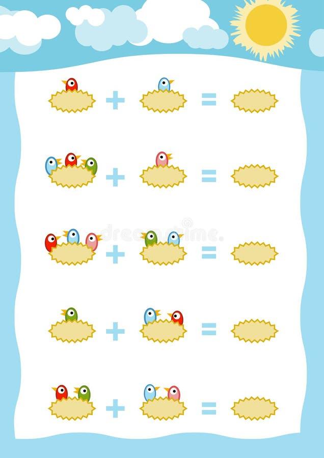 Tellend Spel voor Kinderen Toevoegingsaantekenvellen, vogels in het nest stock illustratie