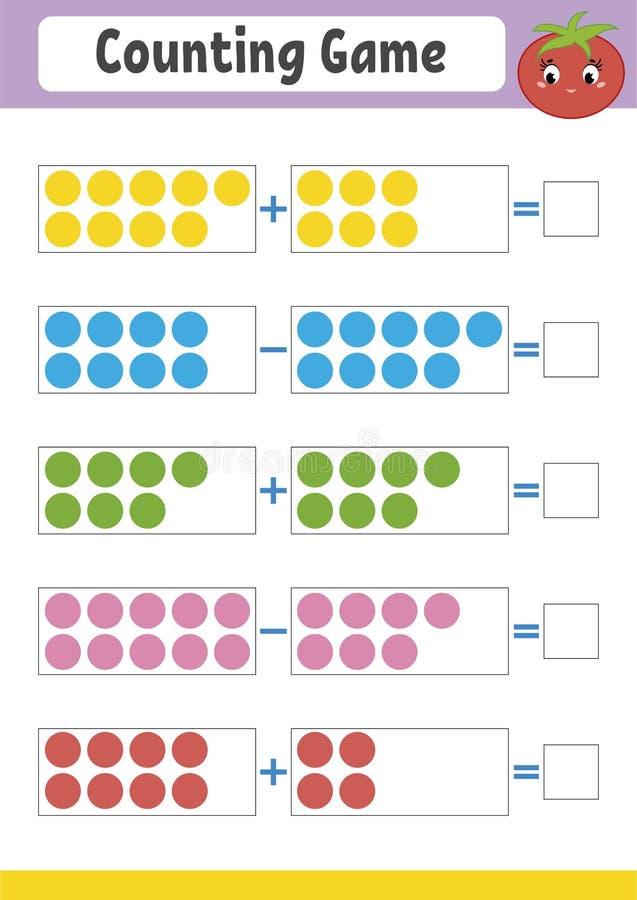 Tellend spel voor kleuters Onderwijs wiskundig spel op toevoeging en aftrekking Actief aantekenvel voor jonge geitjes Heldere vec royalty-vrije illustratie