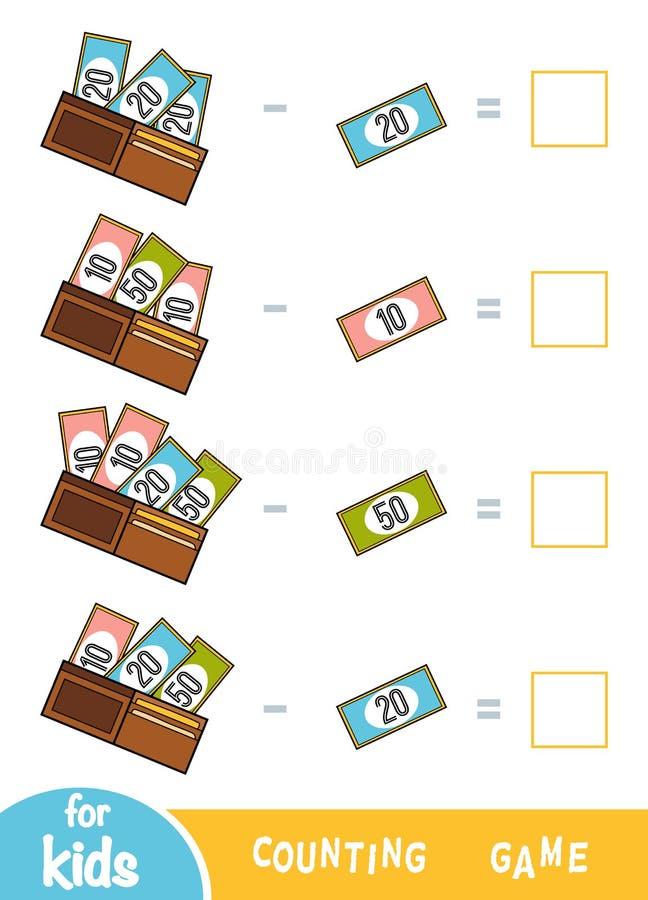 Tellend Spel voor Peuterkinderen Aftrekkingsaantekenvellen Hoeveel geld in portefeuilles stock illustratie