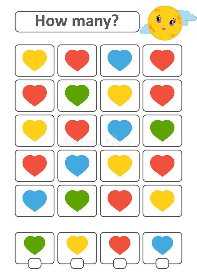 Tellend spel voor peuterkinderen voor de ontwikkeling van wiskundige capaciteiten Hoeveel harten van verschillende kleuren Met pl royalty-vrije illustratie