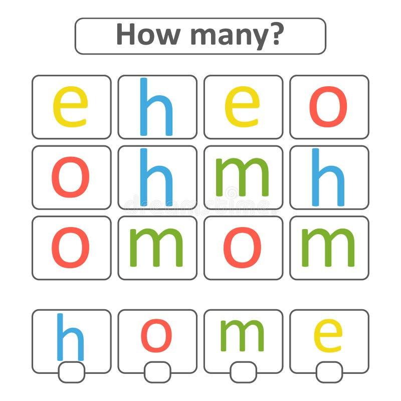 Tellend spel voor peuterkinderen voor de ontwikkeling van wiskundige capaciteiten Tel het aantal brieven in het beeld Wi royalty-vrije illustratie