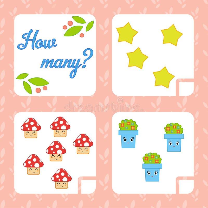 Tellend spel voor peuterkinderen voor de ontwikkeling van wiskundige capaciteiten Tel het aantal voorwerpen in het beeld Wi royalty-vrije illustratie