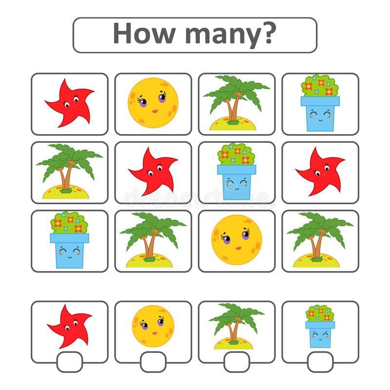 Tellend spel voor peuterkinderen voor de ontwikkeling van wiskundige capaciteiten Tel het aantal voorwerpen in het beeld Wi stock illustratie