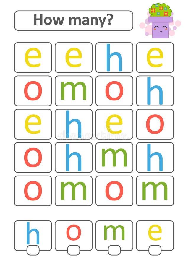 Tellend Spel voor Peuterkinderen De studie van wiskunde Hoeveel brieven in het beeld Met een plaats voor antwoorden eenvoudig vector illustratie