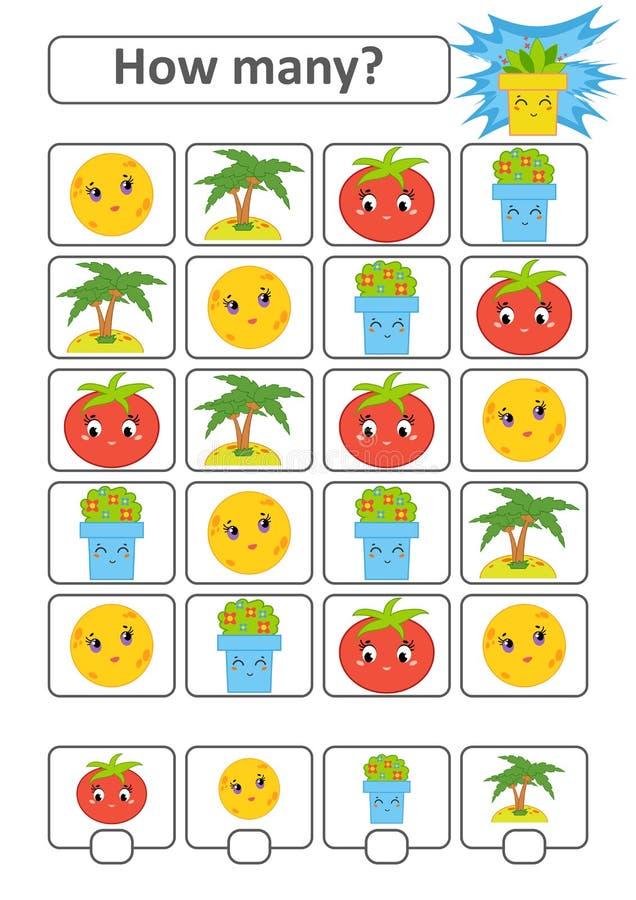 Tellend Spel voor Peuterkinderen De studie van wiskunde Hoeveel karakters in het beeld Maan, palm, tomaat, bloempot stock illustratie