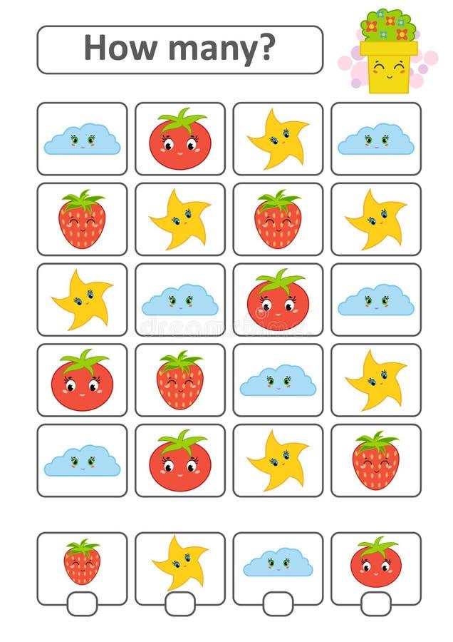 Tellend Spel voor Peuterkinderen De studie van wiskunde Hoeveel karakters in het beeld Met een plaats voor antwoorden Simp stock illustratie